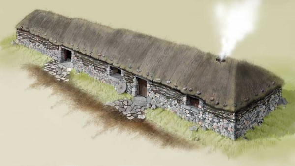 Artist's impression of longhouse at Caen, Timespan.org